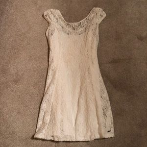 Abercrombie and Fitch white fitted lace dress